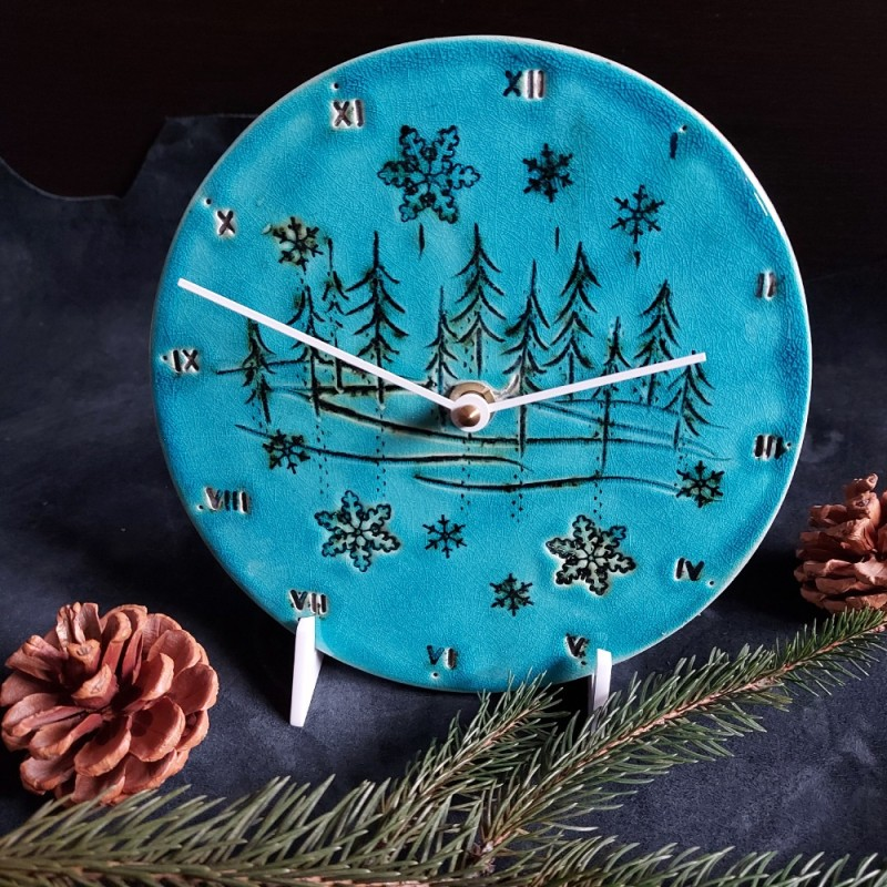 Ceas  de perete cu motive de iarna, diametru 18 cm